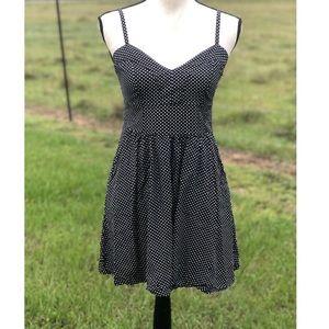 Express Polkadot Black Spaghetti Strap Mini Dress